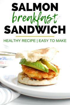 This salmon breakfast sandwich is one of my very favorite healthy breakfast recipes!  You'll make a simple seasoned salmon patty, and then load it up on an english muffin with avocado.  It's a great way to use canned salmon and a great recipe for adding more fish to the diet! Healthy Meals For Kids, Healthy Breakfast Recipes, Easy Healthy Recipes, Brunch Recipes, Healthy Brunch, Brunch Ideas, Healthy Foods, Salmon Breakfast, Tzatziki Recipes