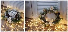 Krem i złoto - klasyka   Świąteczny wianek na stół ze świeczkami pływającymi