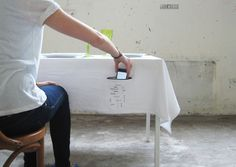 Tablecloth With Smartphone Holder Reminds Us To Mind Our Table Manners #technology