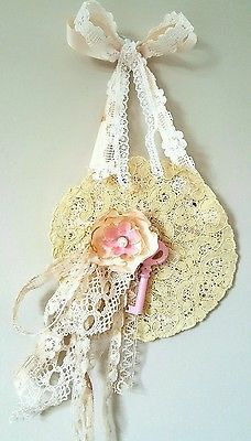 Shabby Chic Tea Stained Doily Lace Roses Pearl Vintage Skeleton Key Wall Hanging