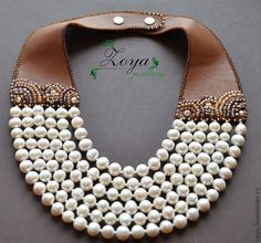 Pearls and leather Statement Jewelry, Pearl Jewelry, Beaded Jewelry, Jewelery, Unique Jewelry, Handmade Jewelry, Jewelry Necklaces, Leather Necklace, Diy Necklace