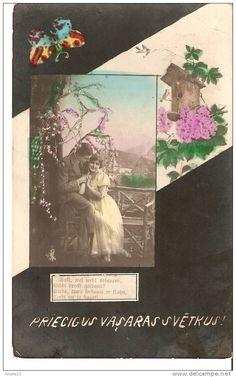 Summer holidays Pentecost - tinted photo postcard - couple woman man