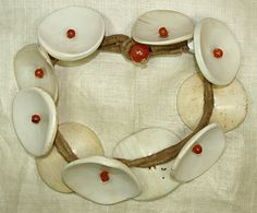 India | Antique Ao tribe necklace from Nagaland | Conch shell, glass beads and fiber | ca. Mid 20th century