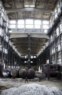 Love the Industrial scale and lines of this old Cement Factory.