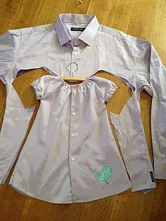 Turn an old dress shirt into an infant dress!  How adorable!!