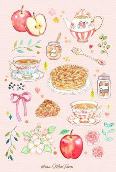 Cute Food Drawings, Cute Kawaii Drawings, Kawaii Art, Drawing Of Food, Dessert Illustration, Cute Illustration, Cute Food Art, Cute Art, Kawaii Wallpaper
