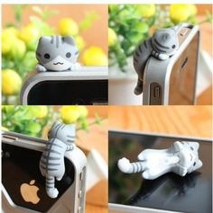 US seller: [20% off] In stock 6 Styles Cute Cats 3.5mm Earphone Jack Plug for iPhone 4 4S 5 or Samsung galaxy - Fancy, cute & a free pouch on Etsy, $0.50