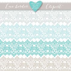 Lace border rustic teal, beige, white, Wedding invitation border, lace clipart, white lace wedding invitation, clipart, vintage lace
