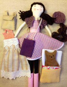 Rag doll, handmade, doll set, dress up doll,imaginative play,contemporary, accessories, Carolyn