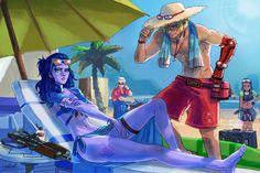 Overwatch Summer Games by SatsuiNoHado.deviantart.com on @DeviantArt - More at https://pinterest.com/supergirlsart #summergames #widowmaker #mccree #soldier76 #sombra #beach #fanart