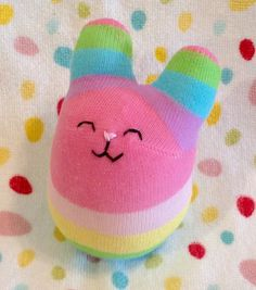 Rainbow pastel Sock bunny rabbit plush by MahinaBunnyCreations
