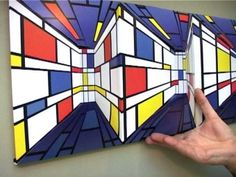Could be a lesson combining Mondrian and two-point perspective 7th Grade Art, School Art Projects, Mondrian Art Projects, Perspective Art, Quilt Modernen, Ecole Art, Art Curriculum, Art Lessons Elementary, Art Abstrait