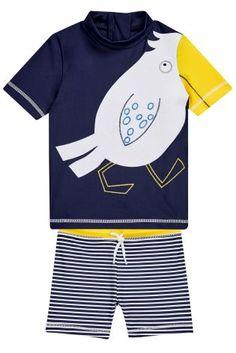Set van marineblauwe zwemshort met zeemeeuwenprint en hemdje (3 mnd-6 jr)