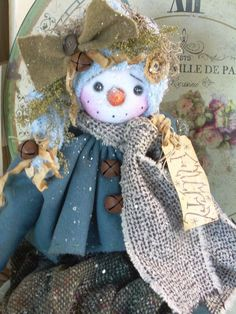 "Primitive Prim Folk Art Snowman Snowwoman OOAK 30"" Doll ""Flurry"" Must See!!! #NaivePrimitive THIS DOLL IS NOW AVAVIABLE ON eBay! Thank you!!:0) SOLD"