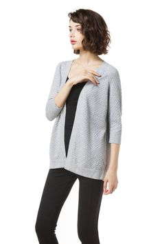 Knitbest Women's 100% Cotton 3D Knitted 3/4 Sleeve Open Cardigans
