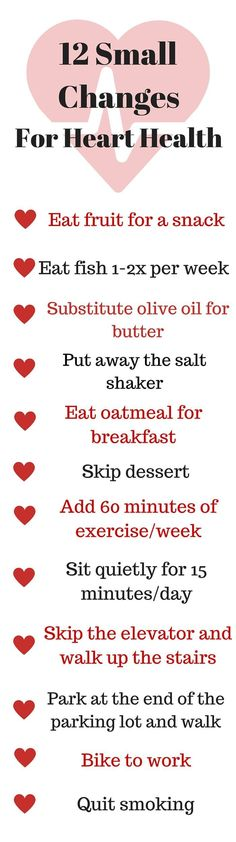 Try these practicle and healthy diet tips for weight loss 12 Small Changes For Heart Health - small changes can add up to make a big difference for heart failure Heart Healthy Diet, Healthy Diet Tips, Heart Healthy Recipes, How To Stay Healthy, Heart Diet, Healthy Weight, Healthy Nutrition, Heart Disease Diet, Foods For Heart Health