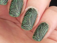 Nail art with Polish Alcoholic Hands Off My Pistachios | Squeaky Nails http://www.squeakynails.com/2015/05/stamped-pistachio.html