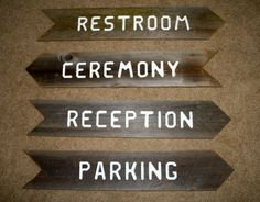 Recycled Fence Panel Signs :  wedding rustic wood sign directions ceremony diy Restrooms