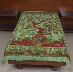 Indian Bed Cover Green Dyed Tree Of Life Printed Single Bed Sheet Wall IWUS BS67 #Handmade
