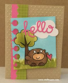 Hello Materials used: Stamps - Chubby Chum Pals, Summer Groves (Paper Smooches); Wise Dies - Clouds, Hello Words, Paper  (Paper Smooches); E...