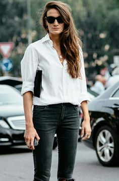grey jeans + white shirt