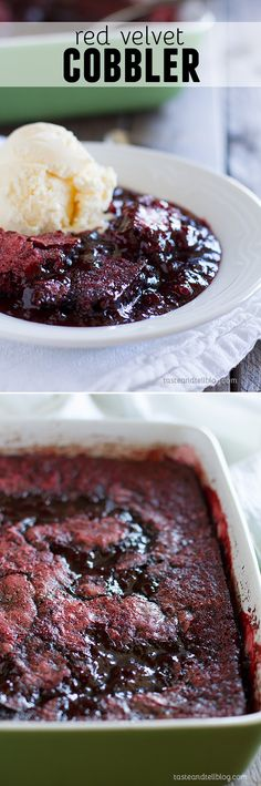 Red Velvet Cobbler - Rich, gooey and sweet, this Red Velvet Cobbler Recipe is a fun version of an old-time Southern dessert.