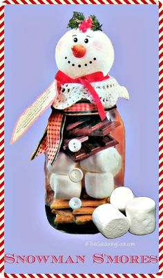 This cute Snowman Smores DIY project would make a great hostess gift for the upcoming holiday party season.  Get my tutorial  http://thegardeningcook.com/diy-snowman-smores/