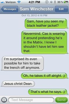 So I am NOT into the Castiel/Dean thing BUT this is hilarious!
