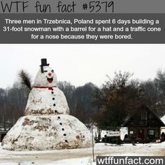 three men in poland built a 31 foot snow man wtf Wtf Fun Facts, True Facts, Funny Facts, Funny Memes, Random Facts, Wtf Funny, Random Things, Funny Quotes, Thinking Day