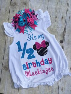 Minnie Mouse 1/2 Birthday Shirt. Pink and Blue by TwoSewinCute