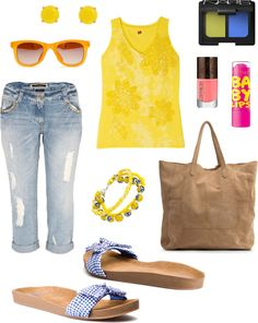 """""""Saturday in yellow"""" by metrobasics ❤ liked on Polyvore"""