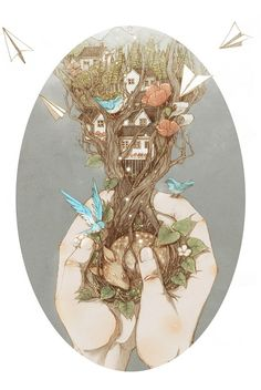 Jin Chantez Yee (Jin Xingye) draws imaginary worlds, fairy atmospheres, like children stories, with as main theme the relationship between men and nature.