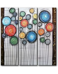 CANVASDOEK: Drieluik met gekleurde cirkels op canvas