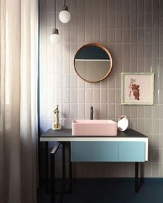 A simple and streamlined bath can also be fun, with pops of color and a retro vibe | Washingtonian