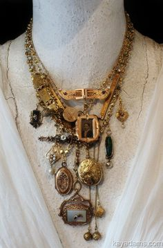 Items similar to Estate Necklace. Made with Your, or Your Grandmother's Treaures. Your heirlooms reincarnated for their next generation of love. Kay Adams on Etsy Jewelry Crafts, Jewelry Art, Antique Jewelry, Jewelry Accessories, Jewelry Design, Gold Jewelry, Vintage Jewelry, Jewelry Rings, Statement Jewelry