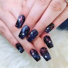 133 black glitter nails designs that are more glam than goth – page 40 Black Nails With Glitter, Purple Nails, White Nails, Glitter Nails, Gel Nails, White Glitter, Halloween Acrylic Nails, Best Acrylic Nails, Nail Swag