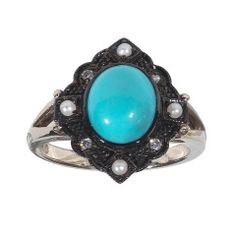 White Gold Turquoise Pearl Diamond Ring