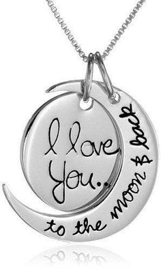 """Sterling silver necklace featuring two-piece moon pendant engraved with loving message of """"I love you.to the moon & back""""Sterling silver necklace Back Necklace, Moon Necklace, Silver Pendant Necklace, Sterling Silver Necklaces, Jewelry Necklaces, Silver Earrings, Pendant Jewelry, Jewlery, Garnet Necklace"""