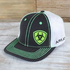 The Ariat Lime Green Stripe Cap features lime green threading that will make you stand out. Rodeo Outfits, Cowboy Outfits, Western Outfits, Country Hats, Country Wear, Hooey Hats, Country Style Outfits, Leather Hats, Wearing A Hat