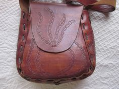 tooled leather purselarge purse handbagwide strap by diddle47, $60.00