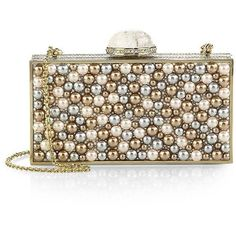 Judith Leiber Perfect Rectangle Pearlescent Embellished Clutch (5 330 AUD) ❤ liked on Polyvore featuring bags, handbags, clutches, apparel & accessories, champagne, champagne purse, metallic clutches, metallic purse, beaded clutches and judith leiber handbag