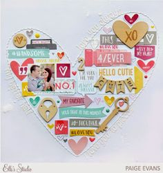 """""""Love You Always"""" scrapbook layout by Paige Evans, featuring giant heart from collaged elements. Scrapbook Expo, Wedding Scrapbook, Scrapbook Sketches, Scrapbook Page Layouts, Scrapbook Paper Crafts, Scrapbook Supplies, Scrapbook Cards, Scrapbook Organization, Ideas Scrap"""