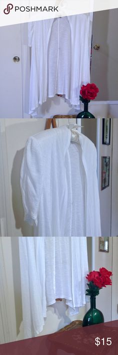 """Soft White Burnout Waterfall Cardigan Size Large Womens AB Studio white burnout short sleeve waterfall open front cardigan size large. Relaxed fit loose flowing flowy. Light airy breezy. Ruching at shoulders gives slight puff sleeve look. Super soft rayon. Slightly sheer. Simple, basic, staple, everyday essential. Versatile layering piece. Casual, chic stylish sleek street style or work, office, dress, business, career, professional clothes, clothing. Spring, summer, fall. Approx. 23–29""""…"""