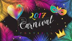 2017 Festival, Carnival Abstract with colorful balloon, Venetian mask, confetti, bright sparkles, palm leaves frame. Vector Rio Brazilian carnival. Tropical, exotic palm tree leaves Night Party invitation