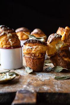 Parmesan Popovers with Crispy Sage Garlic Butter | halfbakedharvest.com #popovers #bread #easyrecipes