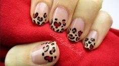 Leopard heart nails!