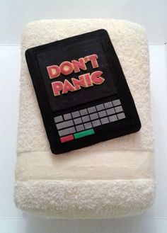 Hitchhiker's Guide to the Galaxy cake! Towel with the guide!