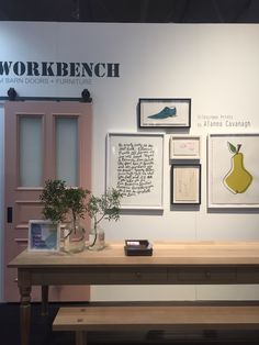 We were at the IDS this weekend and this is our booth. Nun table made of solid white oak and hand made door painted pantone pink. Along with Alanna Cavanagh awesome silk screen prints.