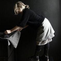 Grey Herringbone Harris Tweed Skirt with Tartan by 13threads