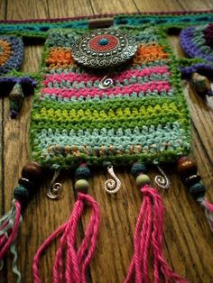 Cosmic crochet utlity belt ~ music festival swag All of my pieces are one-of-a-kind, original wearable art designs <3 www.etsy.com/shop/horizonsed3ewww.facebook.com/horizonsed3e